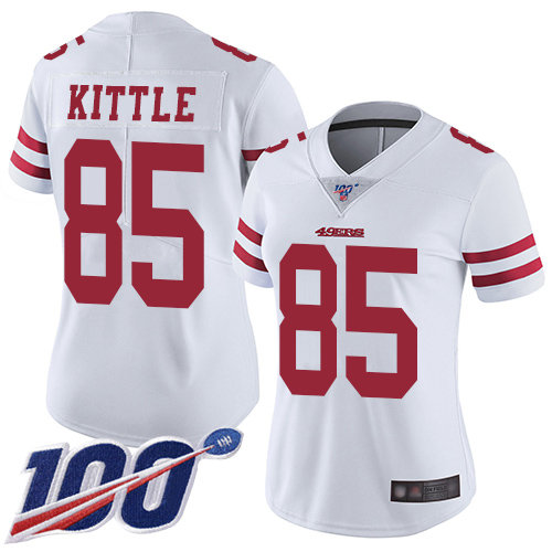 New Women/'s White 49ers #85 GEORGE KITTLE jersey size XXL