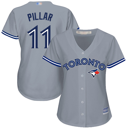 Blue Jays #11 Kevin Pillar Grey Road Women's Stitched Baseball Jersey