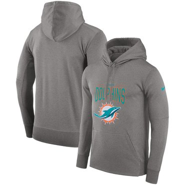 Miami Dolphins Nike Sideline Property of Performance Pullover Hoodie Gray