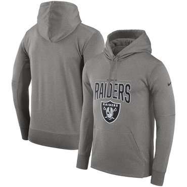 Oakland Raiders Nike Sideline Property of Performance Pullover Hoodie Gray