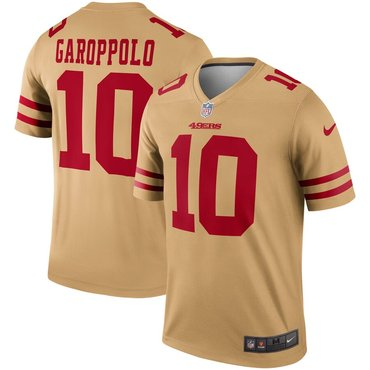 watch b2991 de486 Nike San Francisco 49ers 10 Jimmy Garoppolo Gold Inverted ...