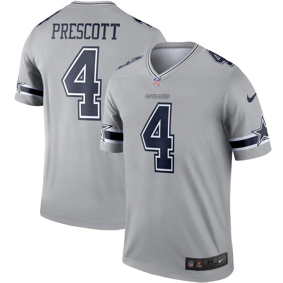 cheap for discount c54c6 e52db Nike Dallas Cowboys 4 Dak Prescott Gray Inverted Legend ...