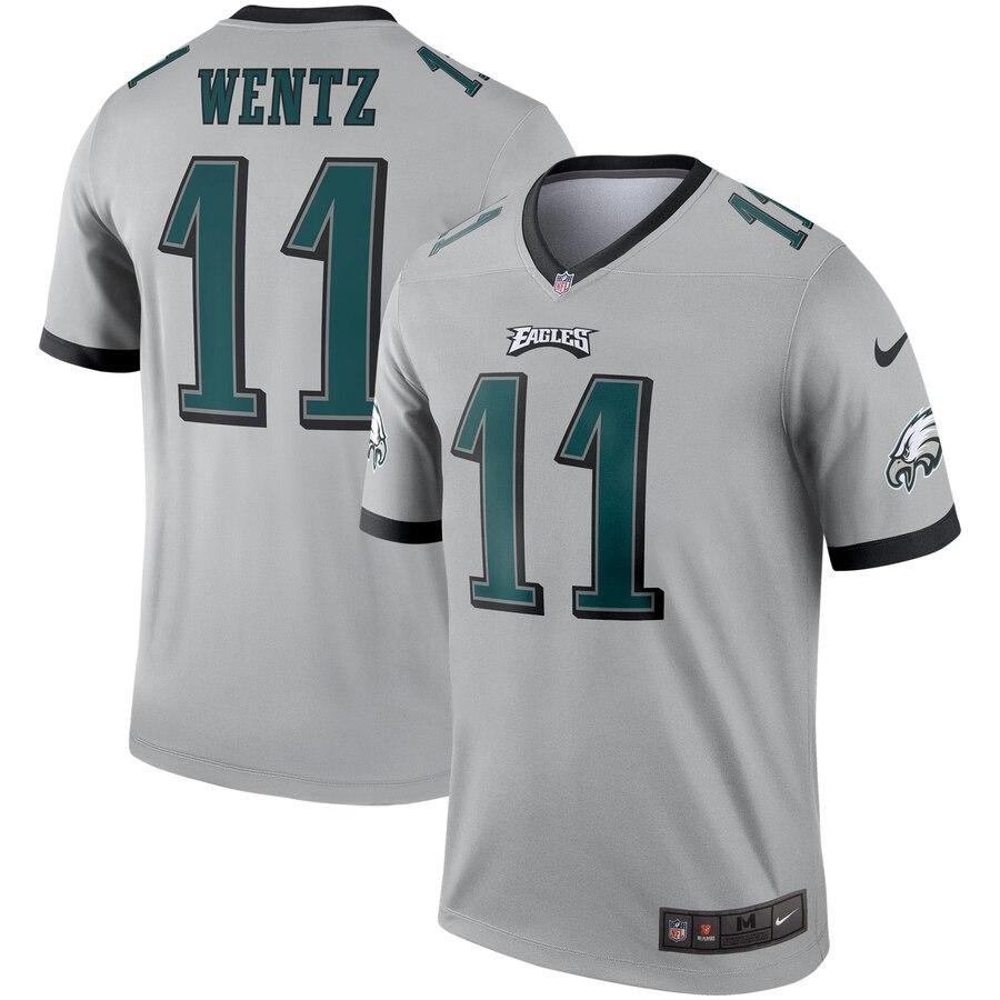 buy popular 57949 a40c1 Nike Philadelphia Eagles 11 Carson Wentz Silver Inverted ...