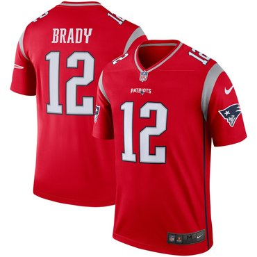 Nike New England Patriots 12 Tom Brady Red Inverted Legend Jersey