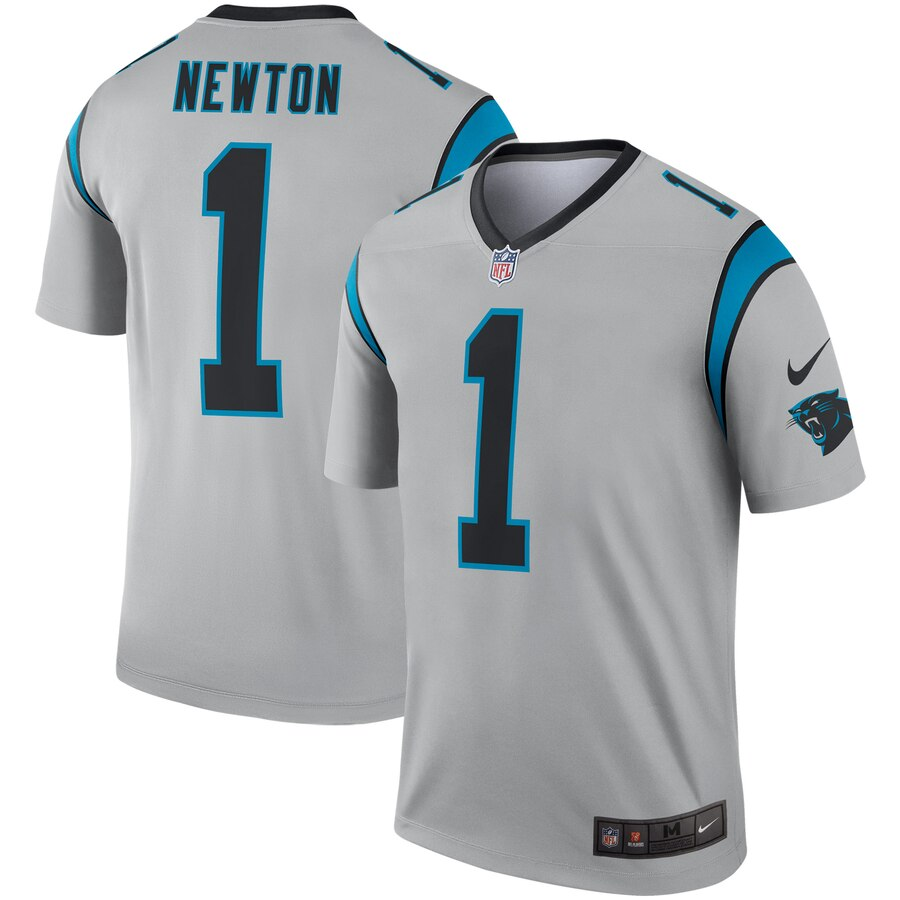 Nike Carolina Panthers 1 Cam Newton Silver Inverted Legend Jersey