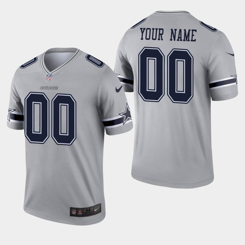 Men's Nike Dallas Cowboys Custom Inverted Legend Gray NFL Jersey