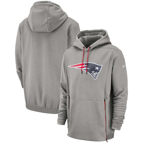 New England Patriots Nike Sideline Performance Player Pullover Hoodie Heathered Gray