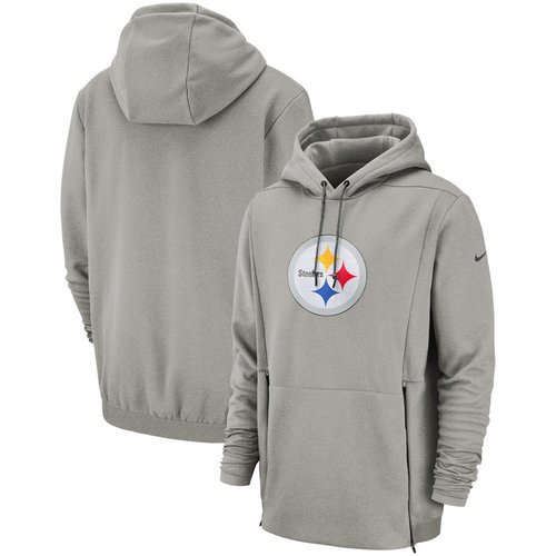 Pittsburgh Steelers Nike Sideline Performance Player Pullover Hoodie Heathered Gray