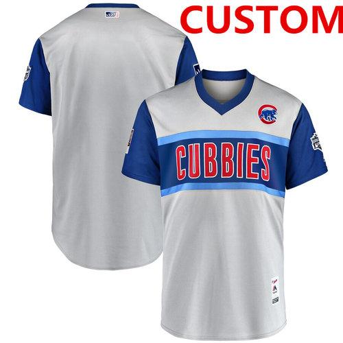 Men's Chicago Cubs Custom Gray 2019 MLB Little League Classic Team Jersey