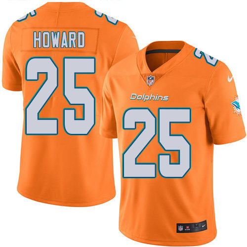 Youth Dolphins #25 Xavien Howard Orange Stitched Football Limited Rush Jersey