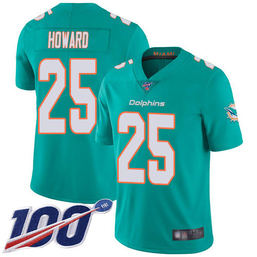 Youth Dolphins #25 Xavien Howard Aqua Green Team Color Stitched Football 100th Season Vapor Limited Jersey