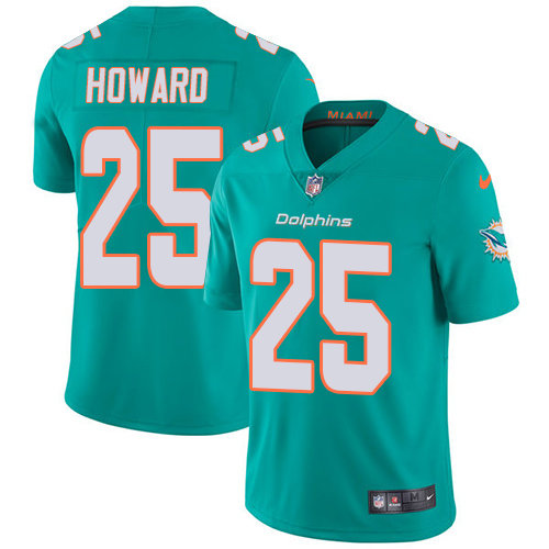 Youth Dolphins #25 Xavien Howard Aqua Green Team Color Stitched Football Vapor Untouchable Limited Jersey