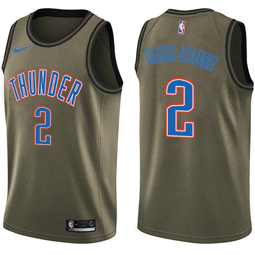 Nike Thunder #2 Shai Gilgeous-Alexander Green NBA Swingman Salute to Service Jersey