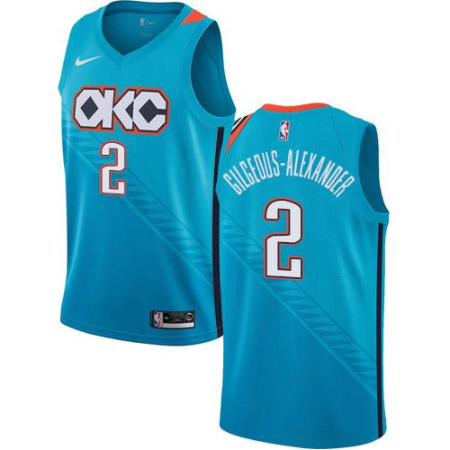 Nike Thunder #2 Shai Gilgeous-Alexander Turquoise NBA Swingman City Edition 2018-19 Jersey