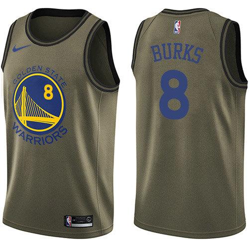 Nike Warriors #8 Alec Burks Green Salute to Service NBA Swingman Jersey