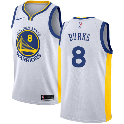 Nike Warriors #8 Alec Burks White NBA Swingman Association Edition Jersey