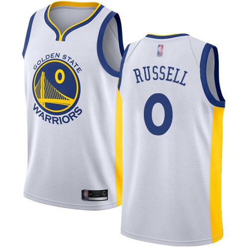 Nike Warriors #0 D'Angelo Russell White NBA Swingman Association Edition Jersey