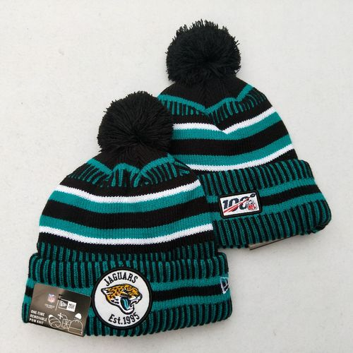 Jaguars Team Logo Green 100th Season Pom Knit Hat YD
