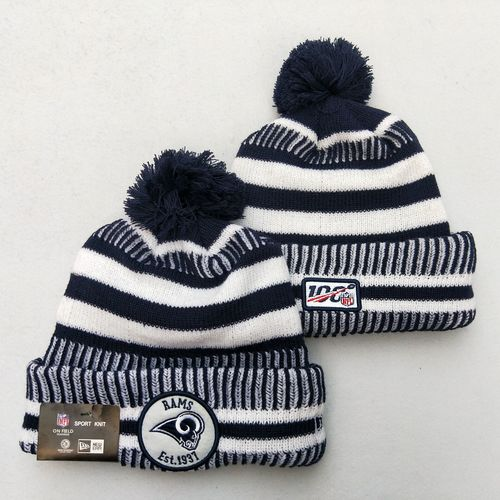 Rams Team Logo Gray 100th Season Pom Knit Hat YD