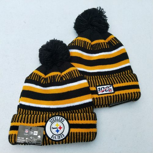 Steelers Team Logo Yellow 100th Season Pom Knit Hat YD