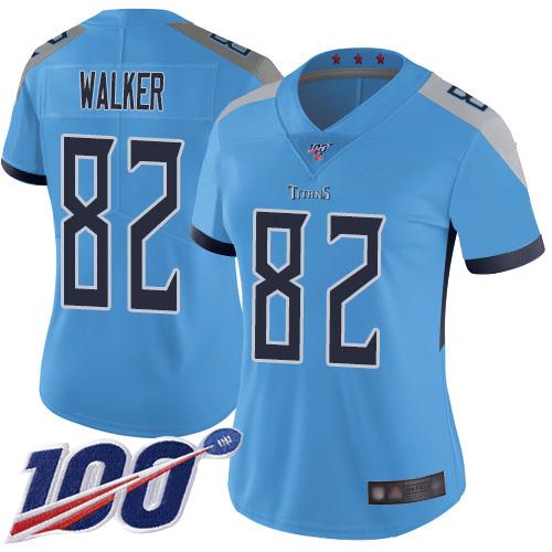 Titans #82 Delanie Walker Light Blue Alternate Women's Stitched Football 100th Season Vapor Limited Jersey