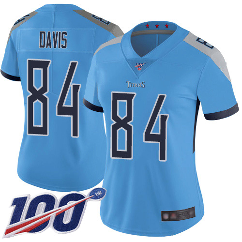 Titans #84 Corey Davis Light Blue Alternate Women's Stitched Football 100th Season Vapor Limited Jersey