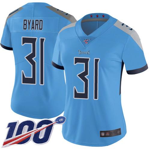 Titans #31 Kevin Byard Light Blue Alternate Women's Stitched Football 100th Season Vapor Limited Jersey