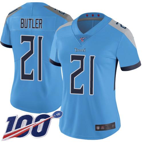 Titans #21 Malcolm Butler Light Blue Alternate Women's Stitched Football 100th Season Vapor Limited Jersey