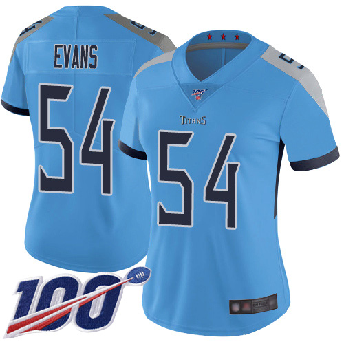 Titans #54 Rashaan Evans Light Blue Alternate Women's Stitched Football 100th Season Vapor Limited Jersey