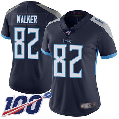 Titans #82 Delanie Walker Navy Blue Team Color Women's Stitched Football 100th Season Vapor Limited Jersey