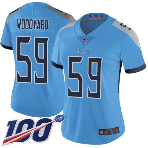 Titans #59 Wesley Woodyard Light Blue Alternate Women's Stitched Football 100th Season Vapor Limited Jersey