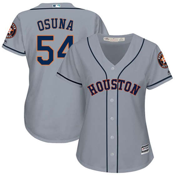 Women's Authentic Houston Astros Roberto Osuna Majestic Cool Base Road Gray Jersey