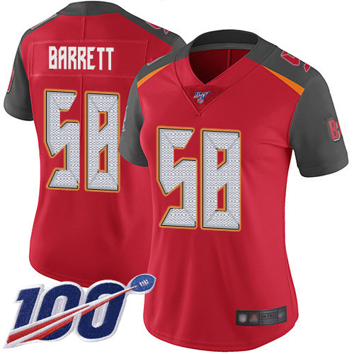 Buccaneers #58 Shaquil Barrett Red Team Color Women's Stitched Football 100th Season Vapor Limited Jersey