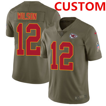 Nike Kansas City Chiefs Custom Olive Men's Stitched NFL Limited 2017 Salute to Service Jersey