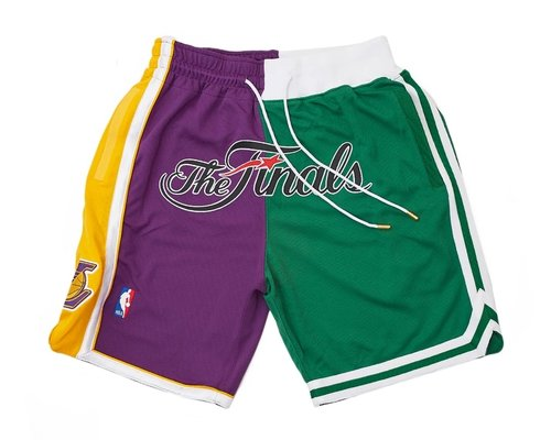 2008 NBA Finals Lakers x Celtics Shorts (Purple-Green) JUST DON By Mitchell & Ness