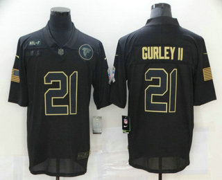 Men's Atlanta Falcons #21 Todd Gurley II Black 2020 Salute To Service Stitched NFL Nike Limited Jersey