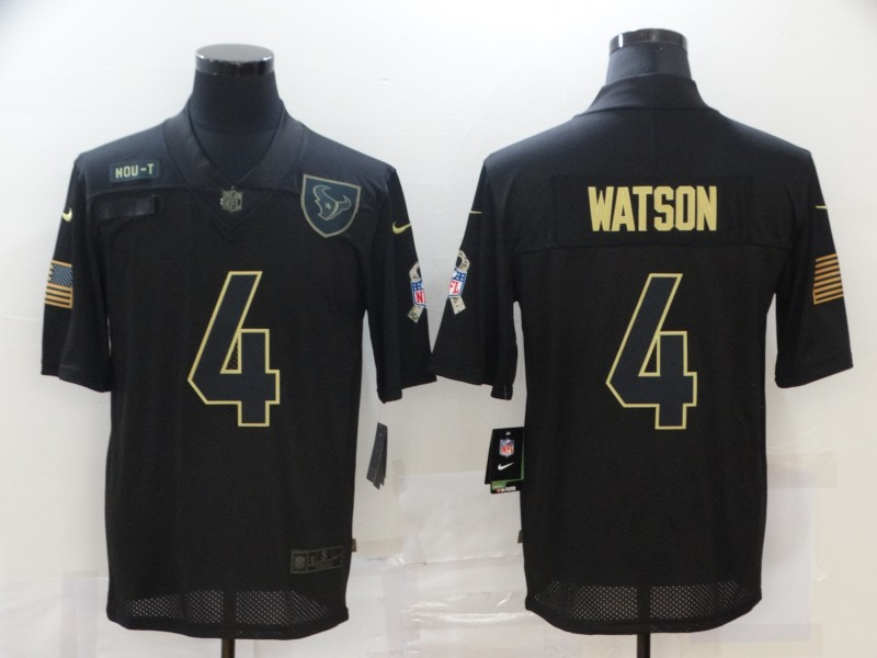 Men's Houston Texans #4 Deshaun Watson Black 2020 Salute To Service Stitched NFL Nike Limited Jersey