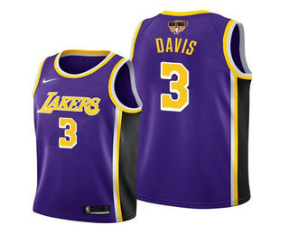 Men's Los Angeles Lakers #3 Anthony Davis 2020 Purple Finals Stitched NBA Jersey