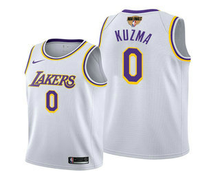 Men's Los Angeles Lakers #0 Kyle Kuzma 2020 White Finals Stitched NBA Jersey