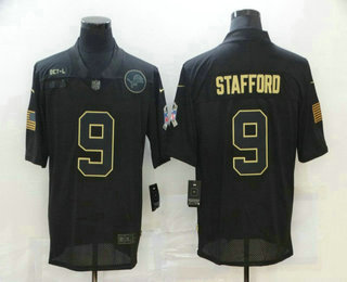 Men's Detroit Lions #9 Matthew Stafford Black 2020 Salute To Service Stitched NFL Nike Limited Jersey