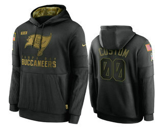 Men's Tampa Bay Buccaneers Custom Black 2020 Salute To Service Sideline Performance Pullover Hoodie