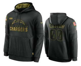 Men's Los Angeles Chargers Custom Black 2020 Salute To Service Sideline Performance Pullover Hoodie