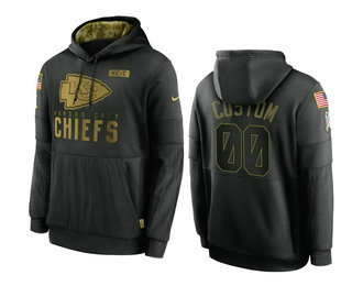 Men's Kansas City Chiefs Custom Black 2020 Salute To Service Sideline Performance Pullover Hoodie
