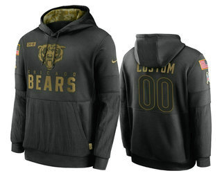 Men's Chicago Bears Custom Black 2020 Salute to Service Sideline Performance Pullover Hoodie