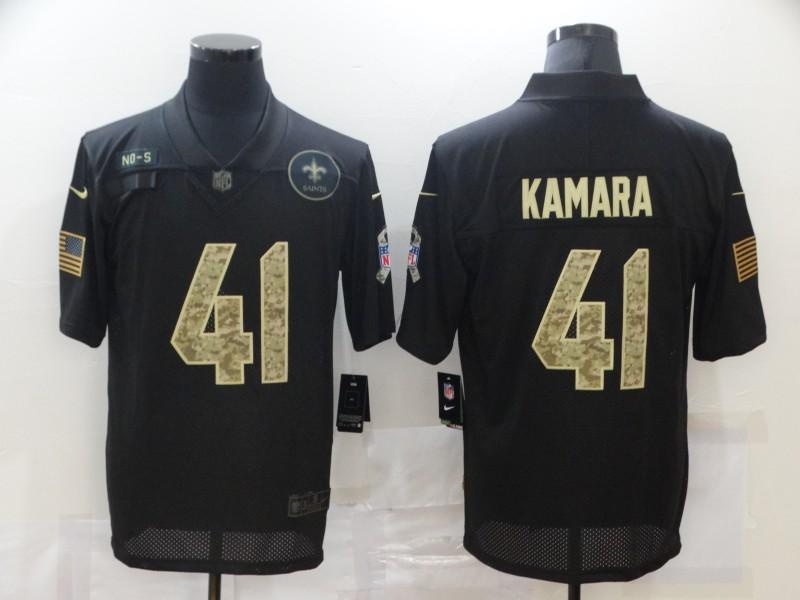 Men's New Orleans Saints #41 Alvin Kamara Black Camo 2020 Salute To Service Stitched NFL Nike Limited Jersey