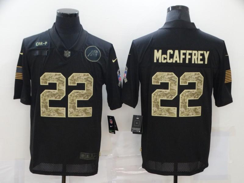 Men's Carolina Panthers #22 Christian McCaffrey Black Camo 2020 Salute To Service Stitched NFL Nike Limited Jersey