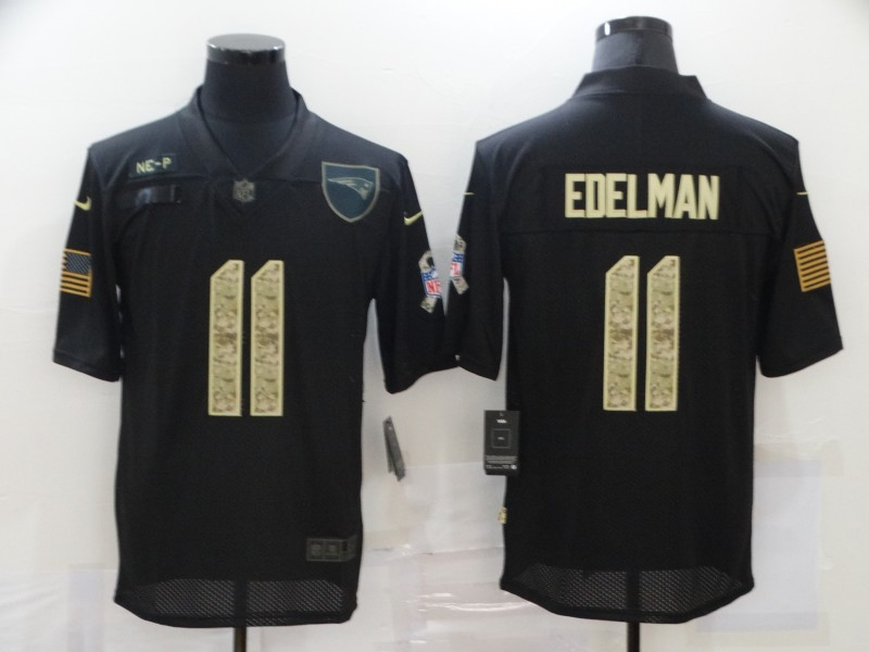 Men's New England Patriots #11 Julian Edelman Black Camo 2020 Salute To Service Stitched NFL Nike Limited Jersey