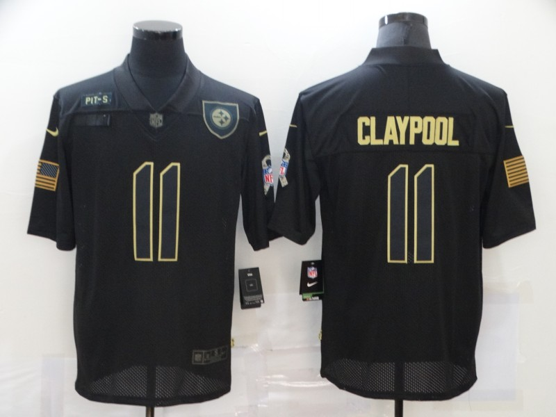 Men's Pittsburgh Steelers #11 Chase Claypool Black 2020 Salute To Service Stitched NFL Nike Limited Jersey