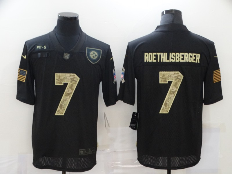 Men's Pittsburgh Steelers #7 Ben Roethlisberger Black Camo 2020 Salute To Service Stitched NFL Nike Limited Jersey