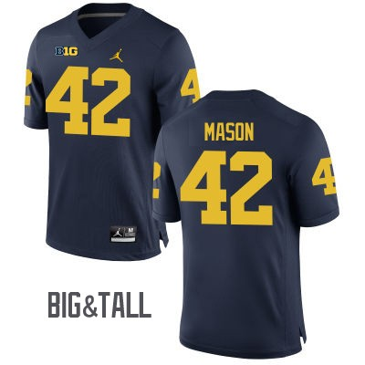 Men's Michigan Wolverines #42 Ben Mason Blue Big&Tall Performance Jersey